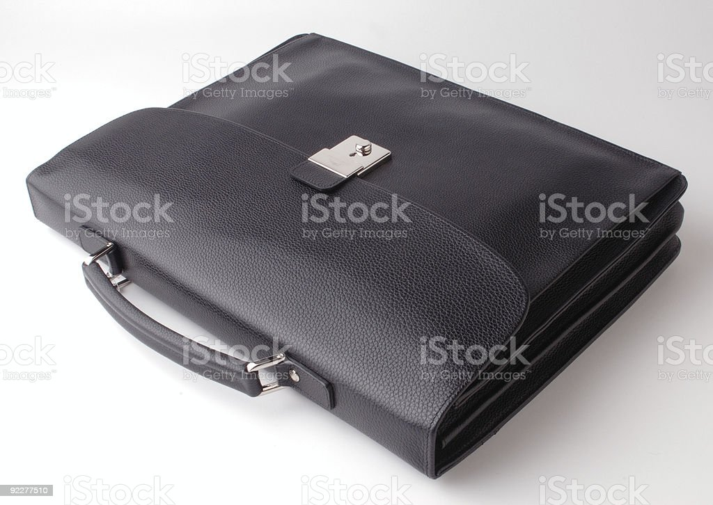 black leather case stock photo