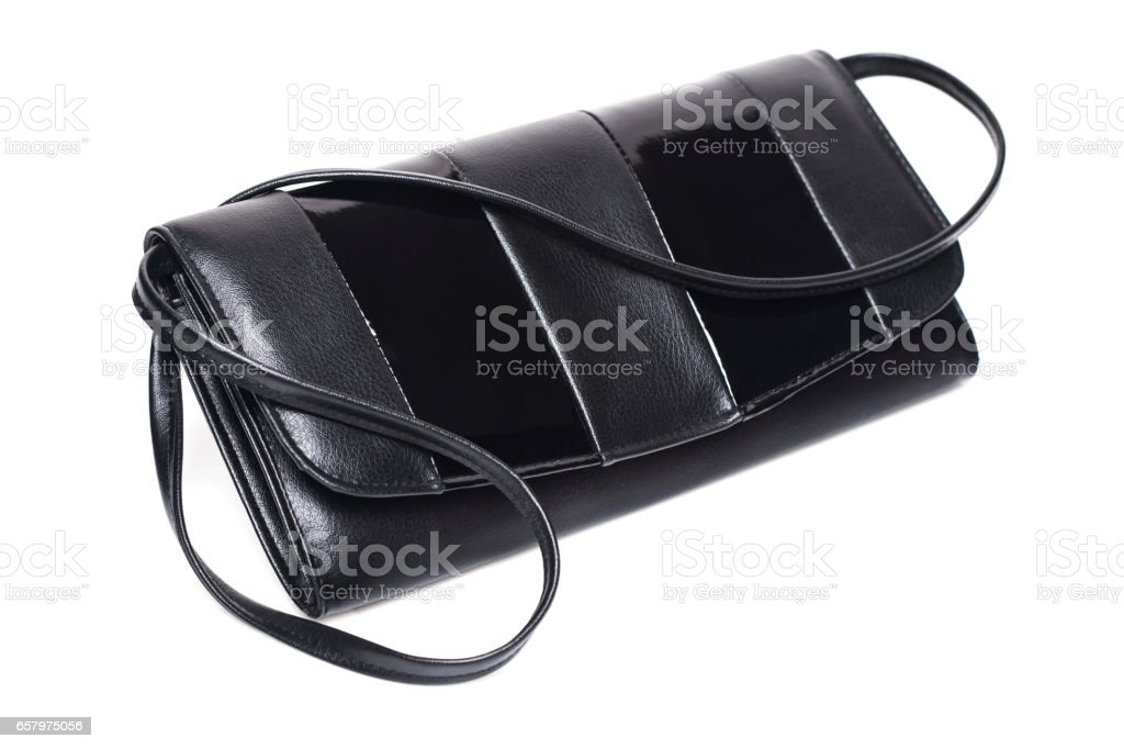 Black leather clutch stock photo