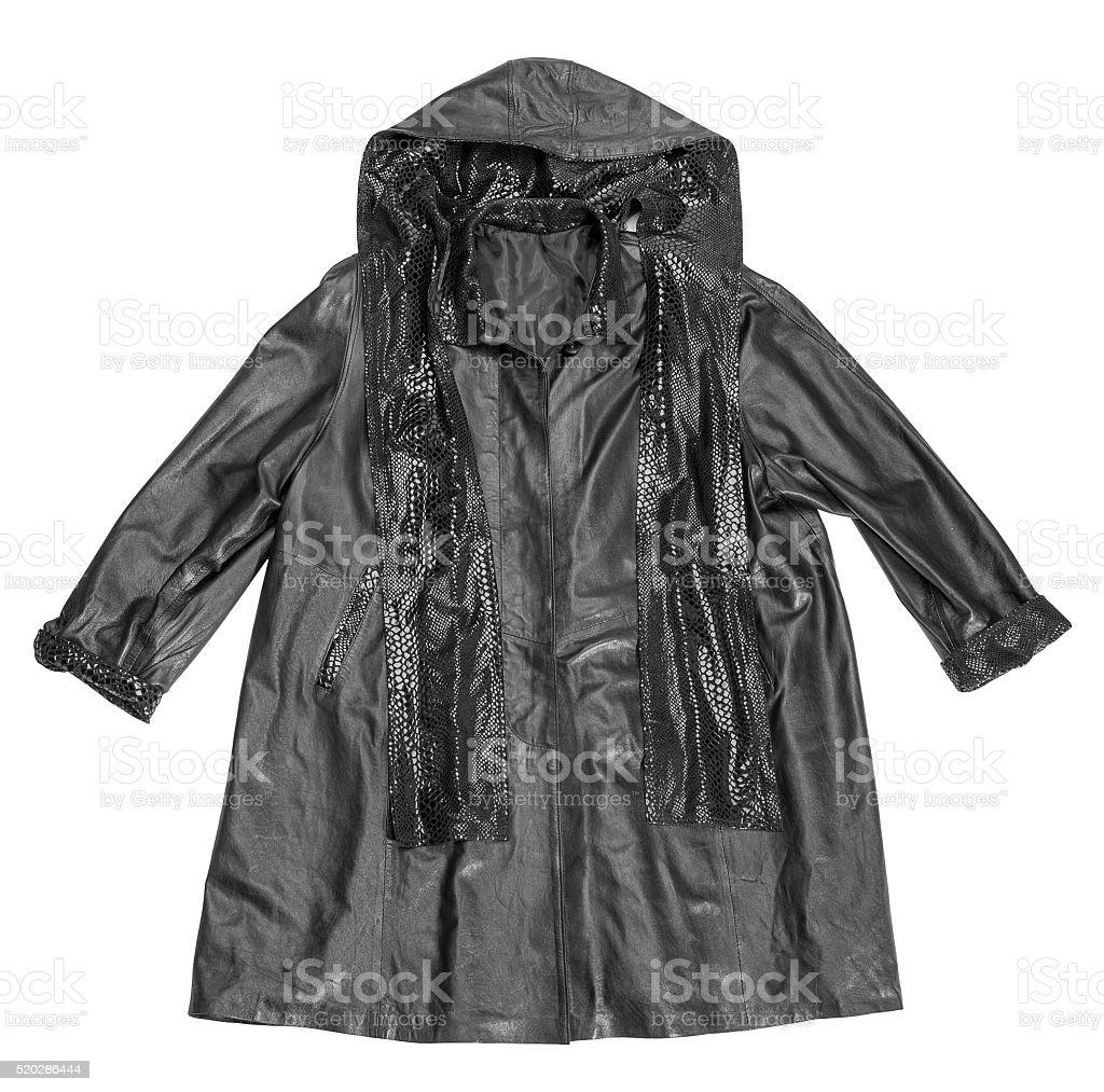 black leather coat stock photo