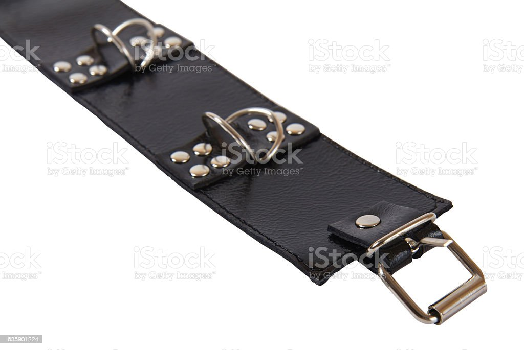 black leather collar with a rivets and a metal ring stock photo