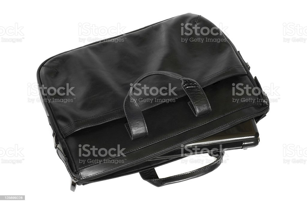 Black leather computer bag with laptop royalty-free stock photo