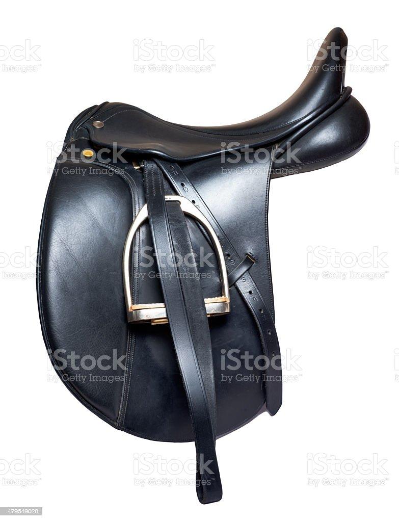 Black leather dressage saddle  isolated on white background stock photo