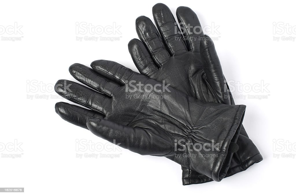 Black leather gloves stock photo