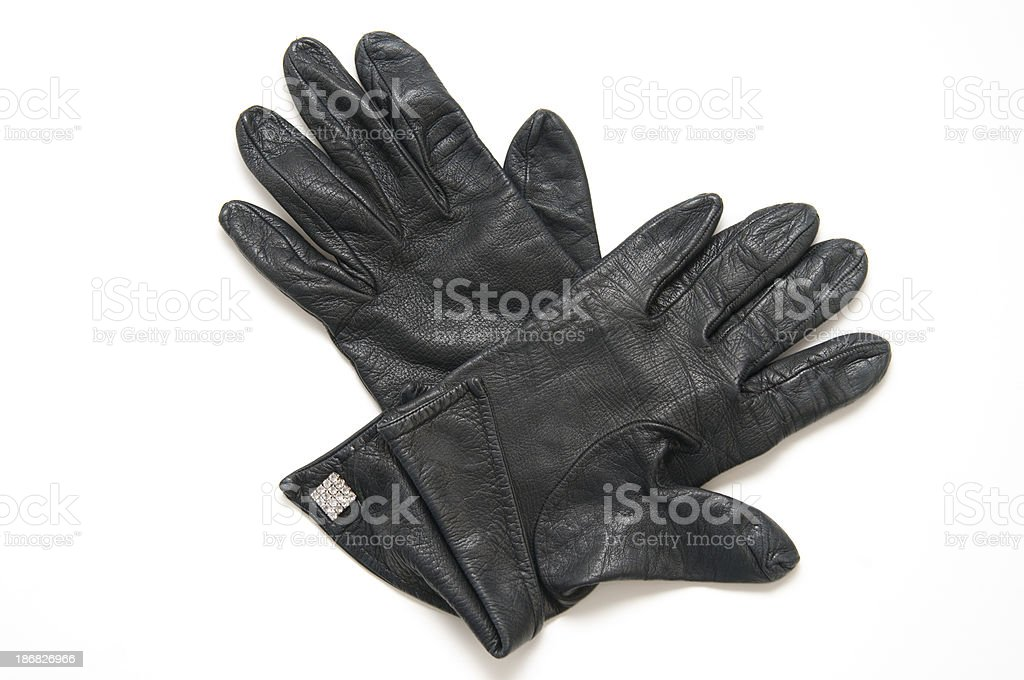 black leather gloves royalty-free stock photo