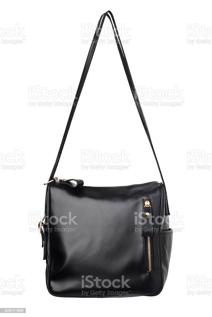 Black leather handbag, close up stock photo