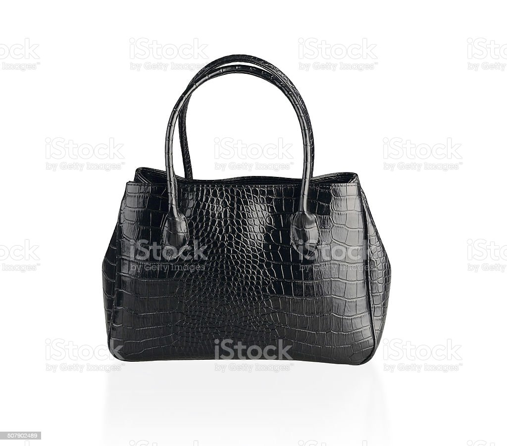 Black leather handbag isolated stock photo