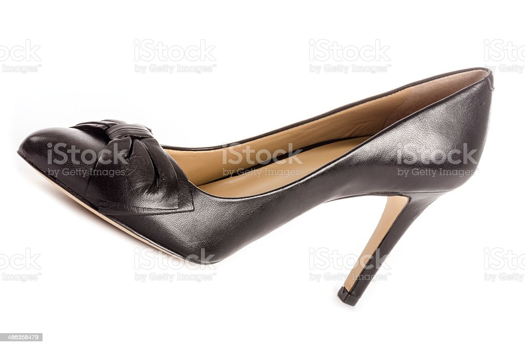 Black Leather High Heel Pumps stock photo
