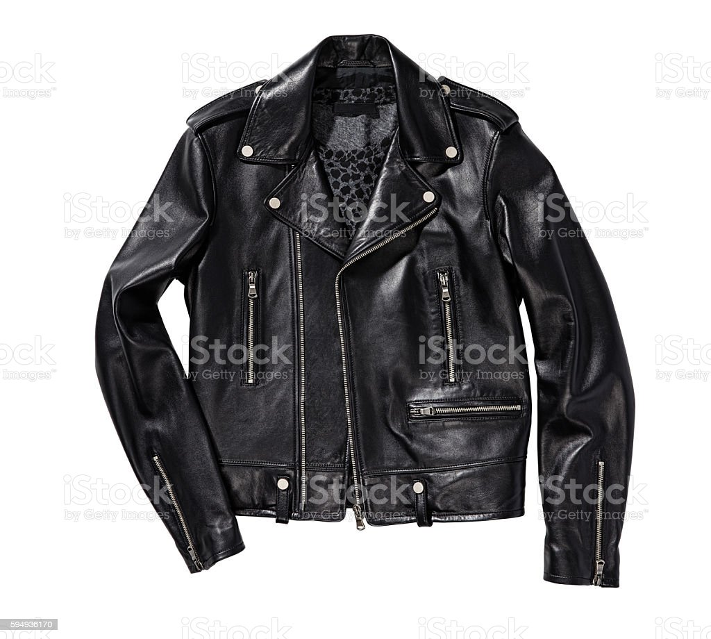 black leather jacket stock photo
