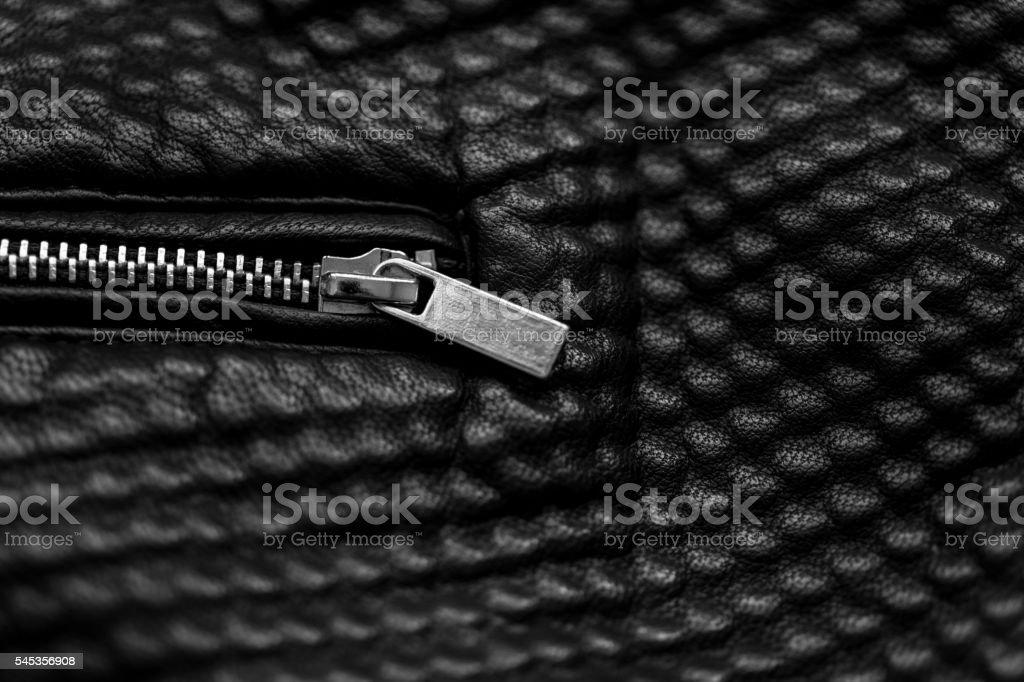 Black leather jacket zip stock photo
