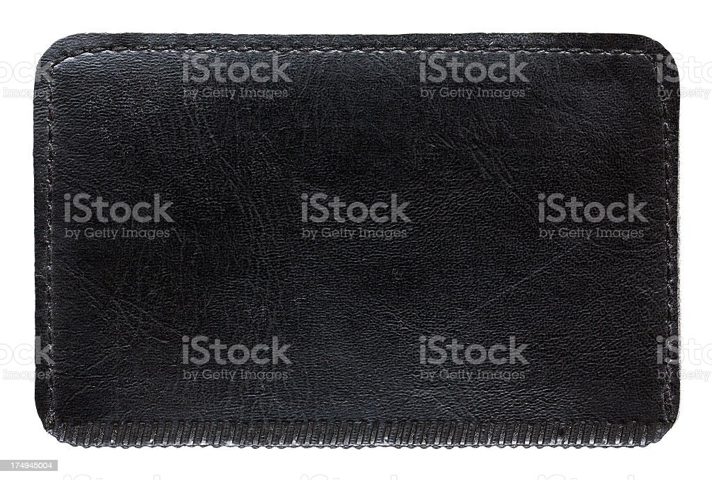 Black Leather Lable textured background isolated stock photo