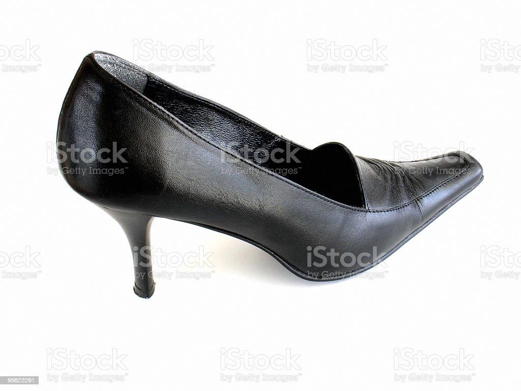 black leather lady's shoe royalty-free stock photo
