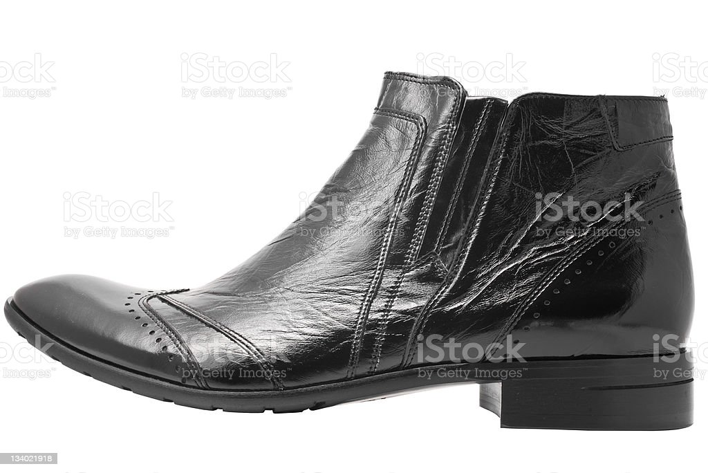 Black leather mens boot isolated royalty-free stock photo