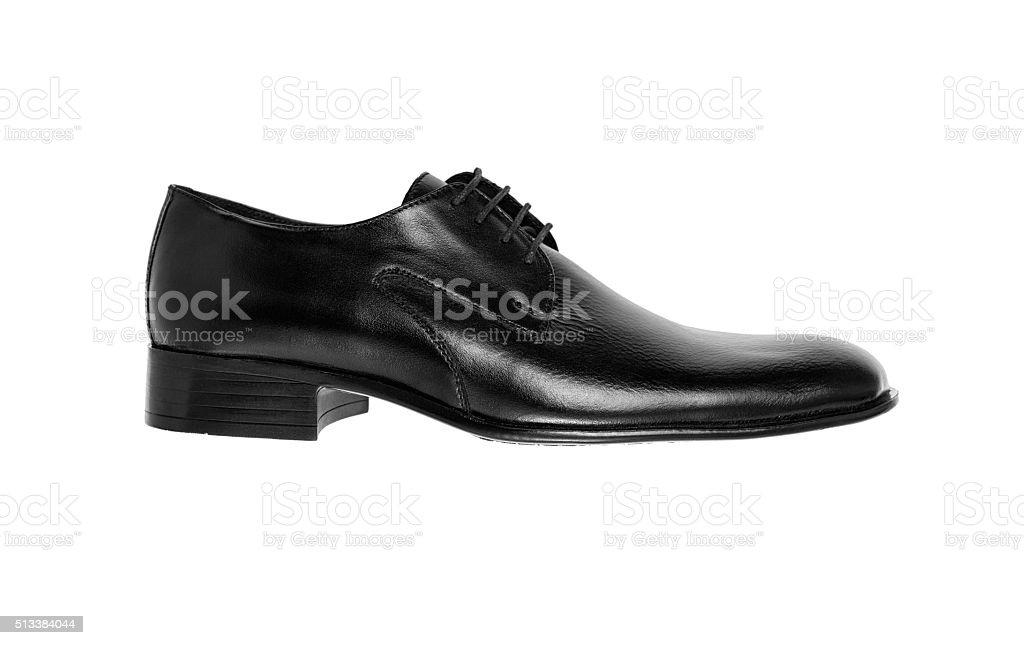 Black leather men's shoe stock photo