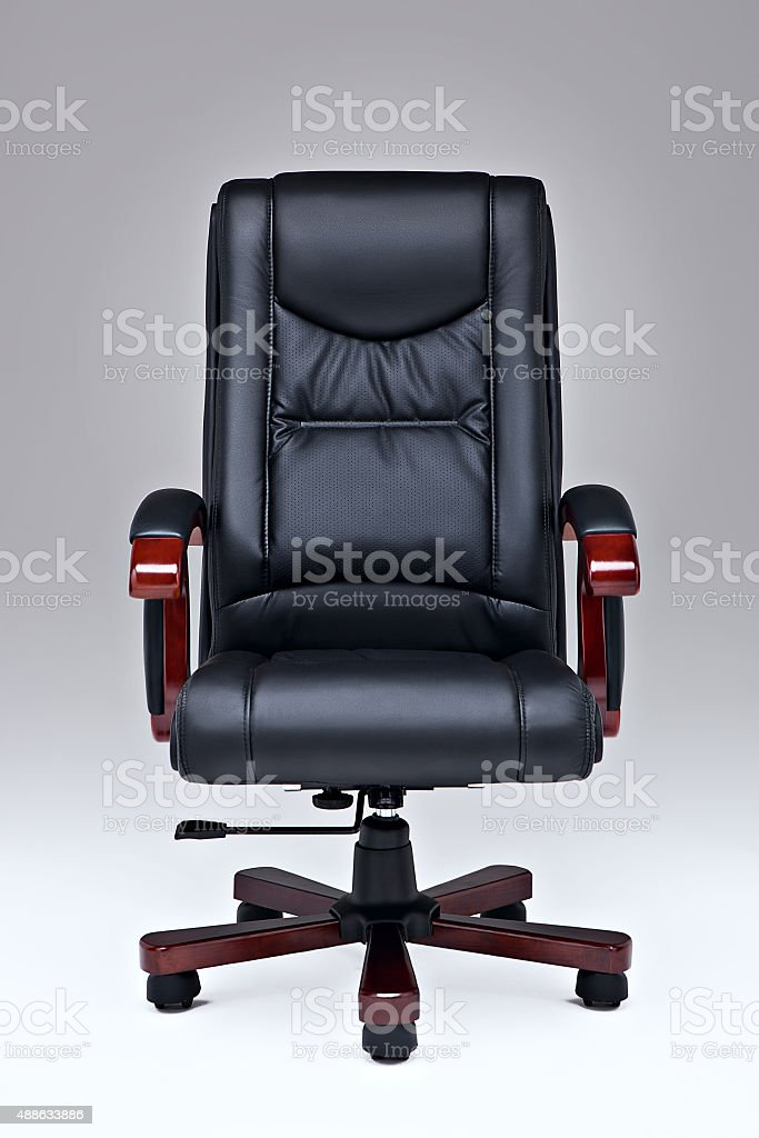 Black leather office chair. stock photo