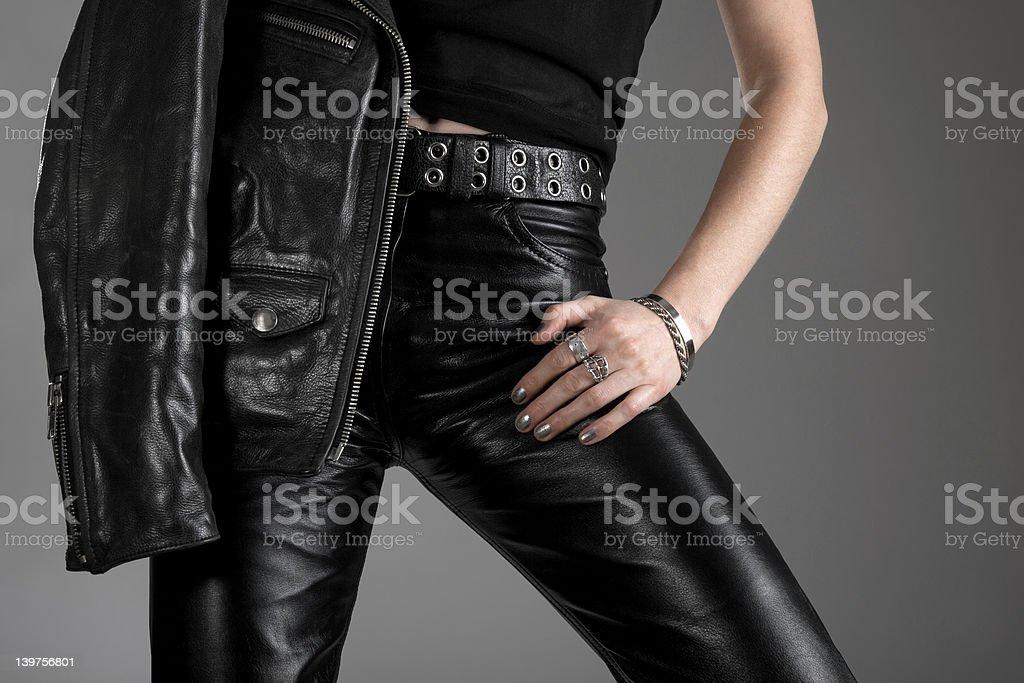 Black leather pants and jacket stock photo