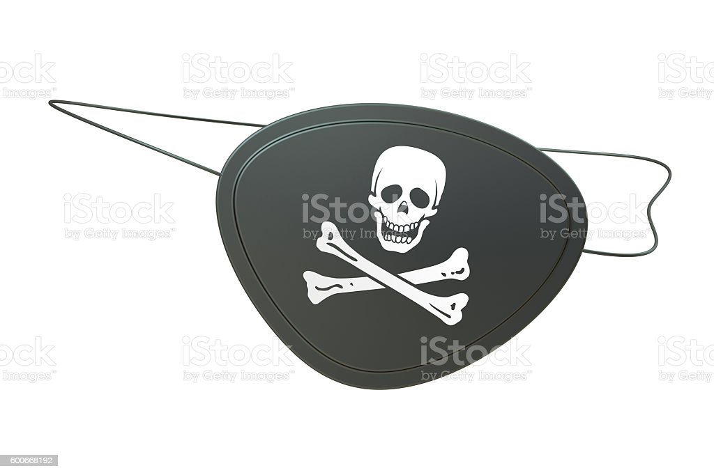 Black leather pirate eye patch, 3D rendering stock photo