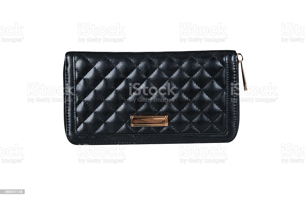 Black leather purse stock photo