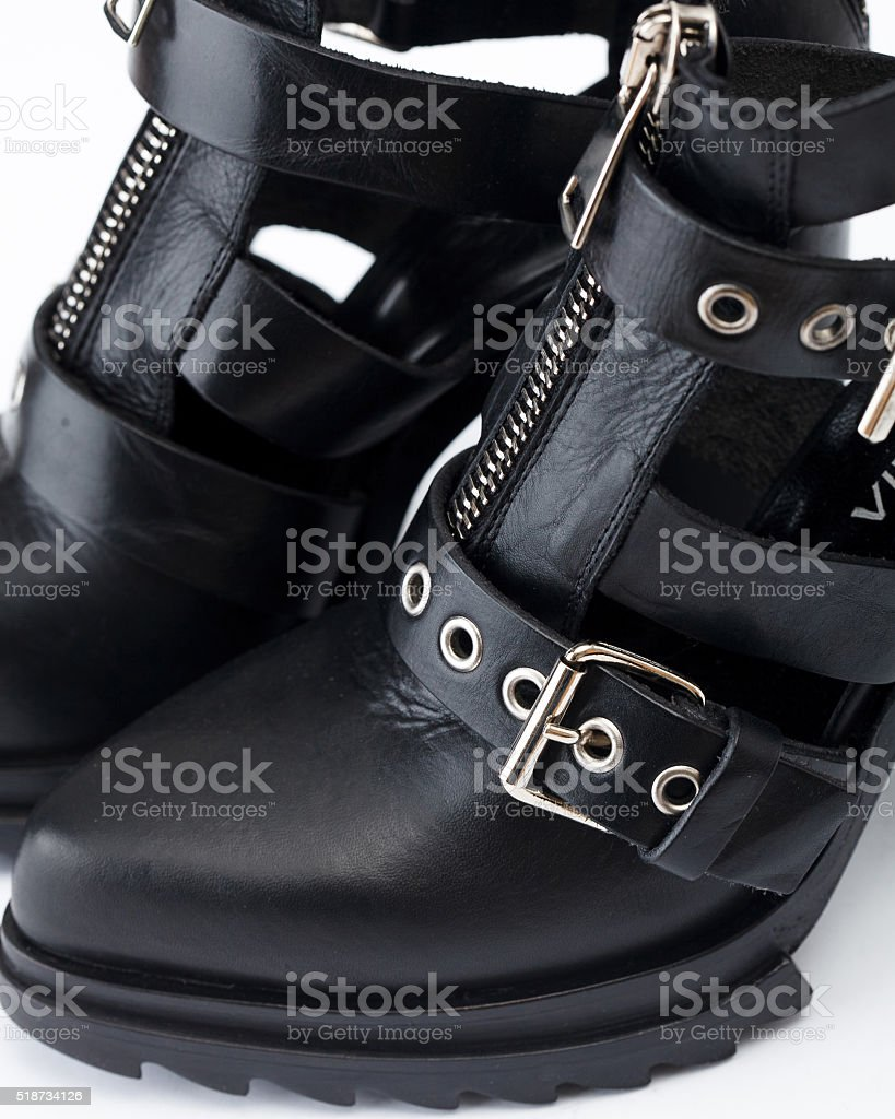 Black leather sandals stock photo
