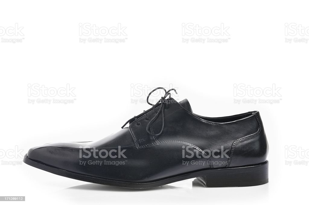 Black leather shoes stock photo