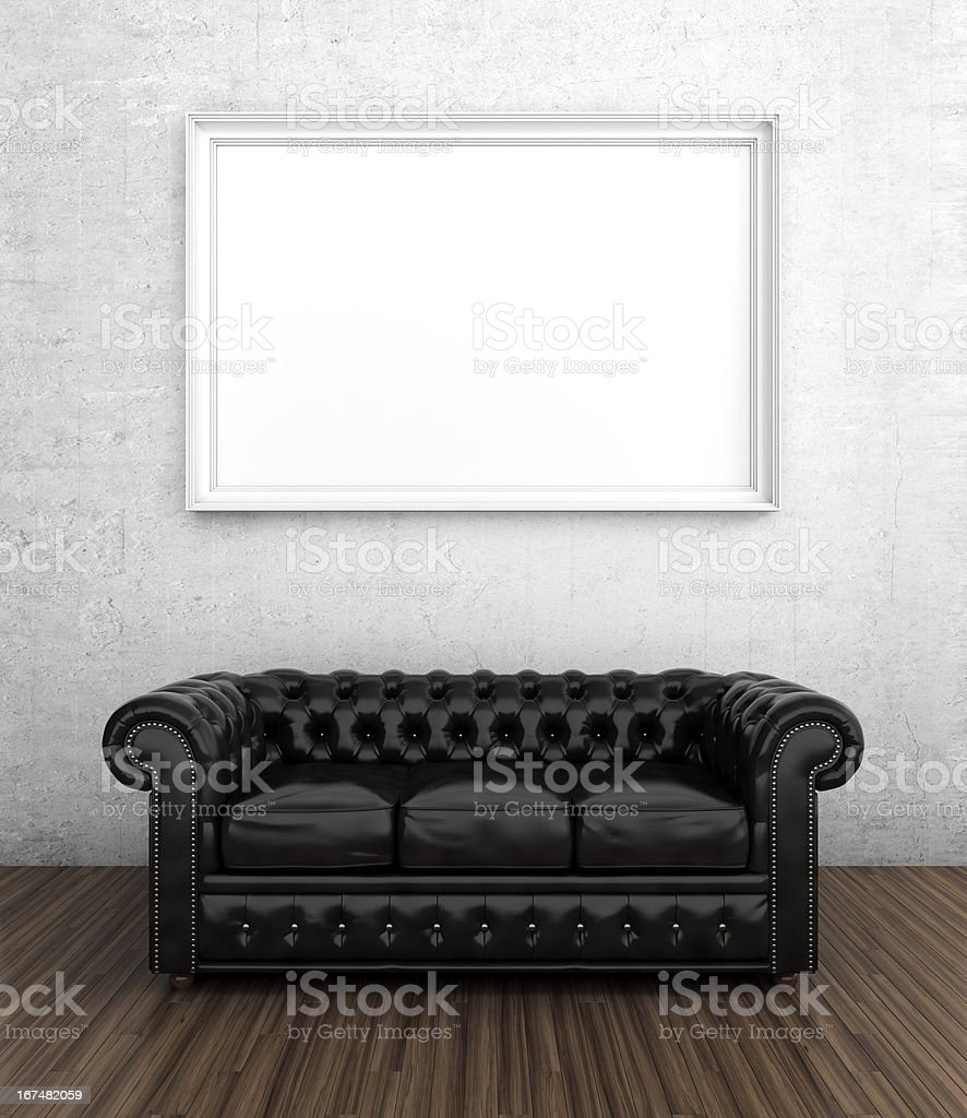 Black leather sofa royalty-free stock photo