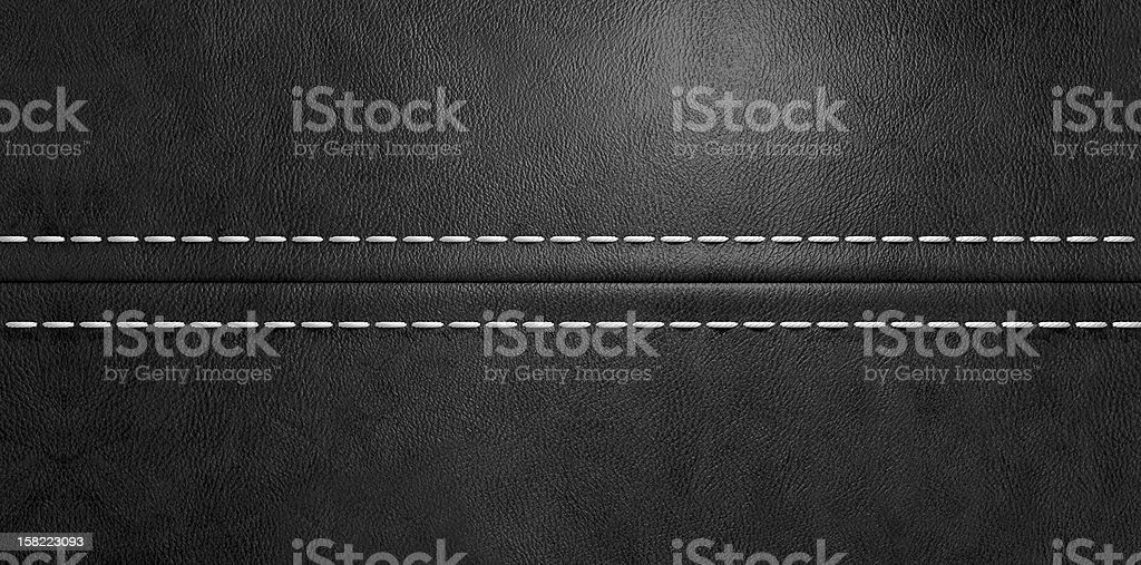 Black Leather Stitched Seam stock photo