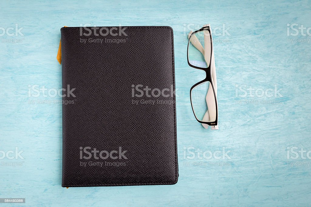 Black leather texture cover notebook stock photo