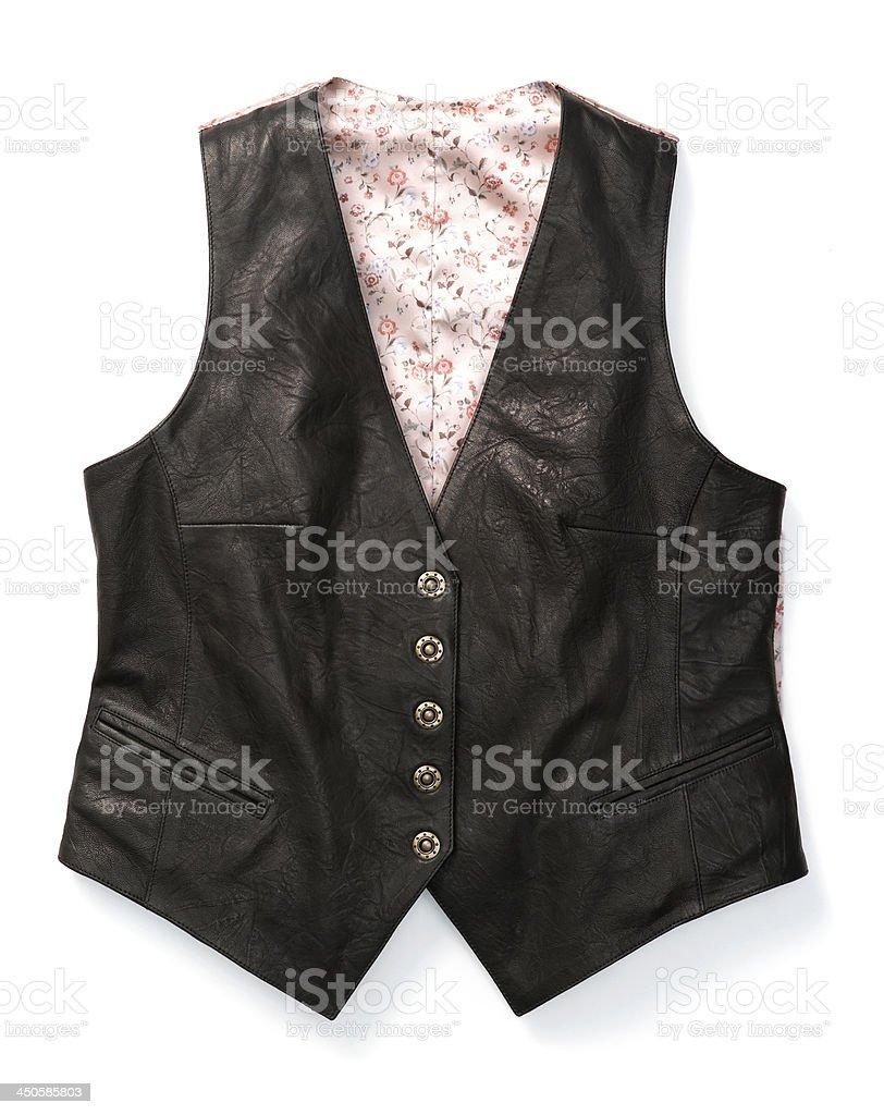 black leather waistcoat stock photo