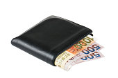 Black leather wallet with Hong Kong Dollar over white background