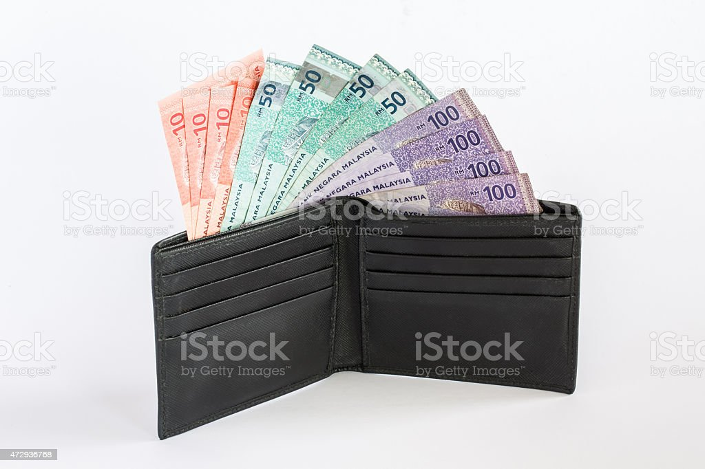 Black leather wallet with Malaysian Ringgit stock photo