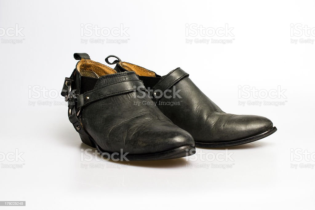 Black leather women's shoes royalty-free stock photo