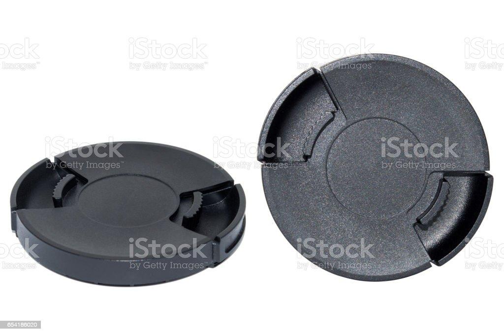 Black lens cap isolated on white background stock photo