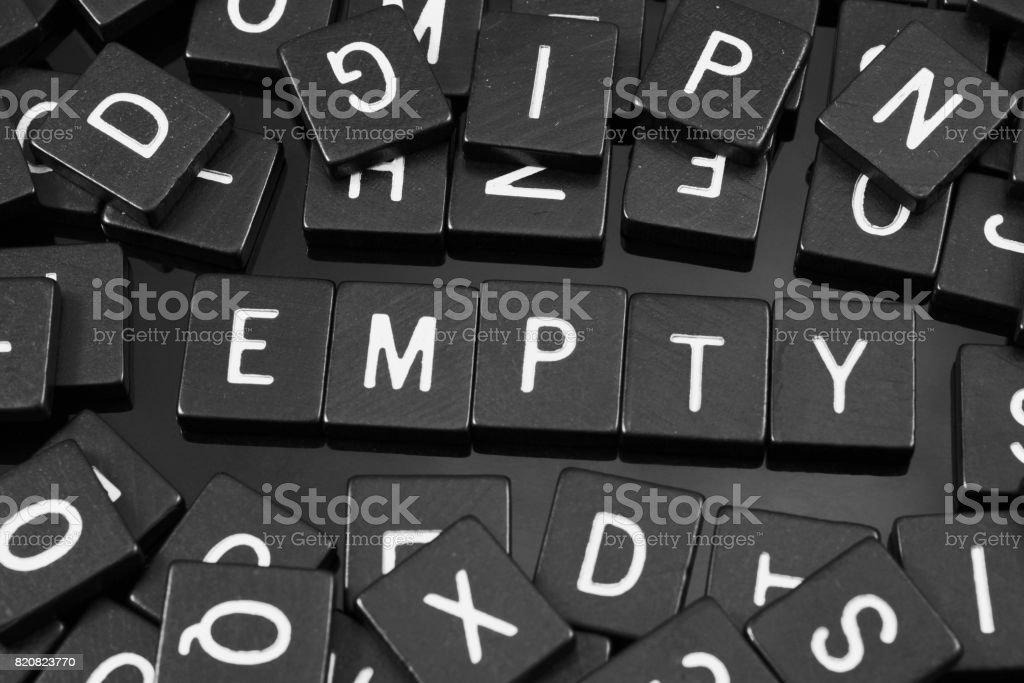 Black letter tiles spelling the word 'empty' stock photo