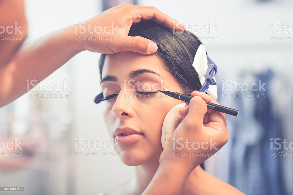Black liner application stock photo