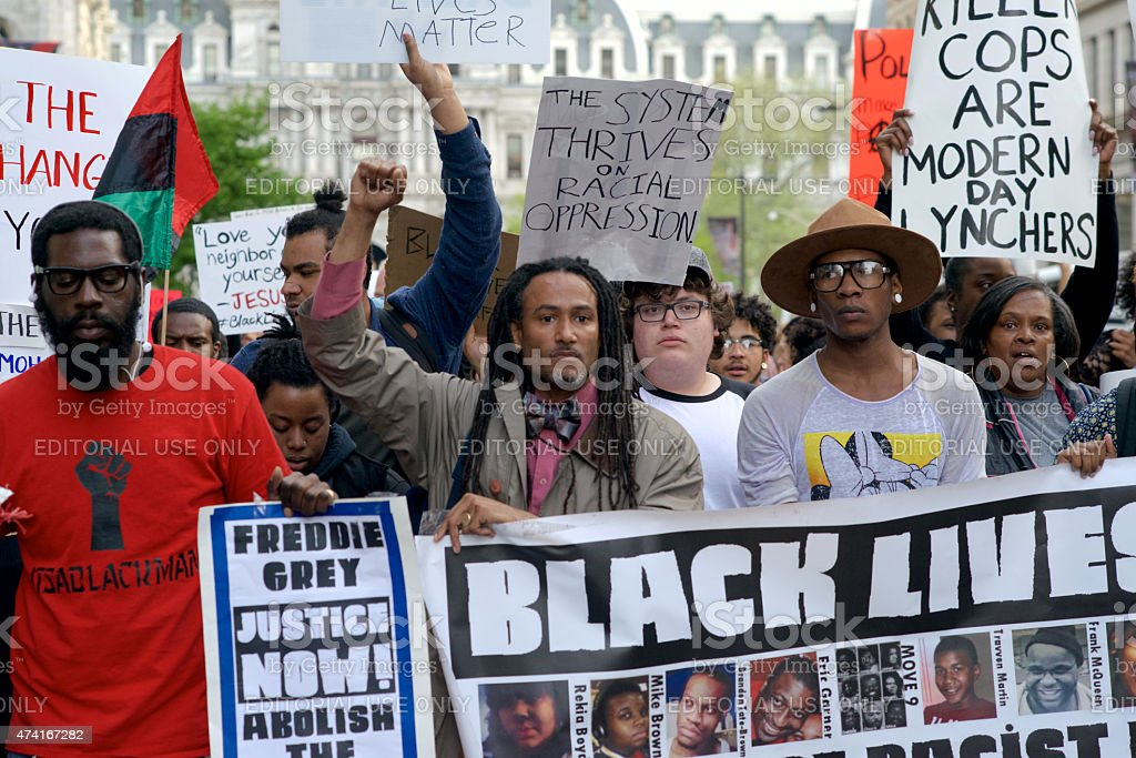 Black Lives Matter March and Protest in Philadelphia, PA stock photo