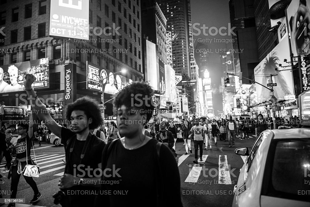 Black Lives Matter protest in Times Square, New York City stock photo