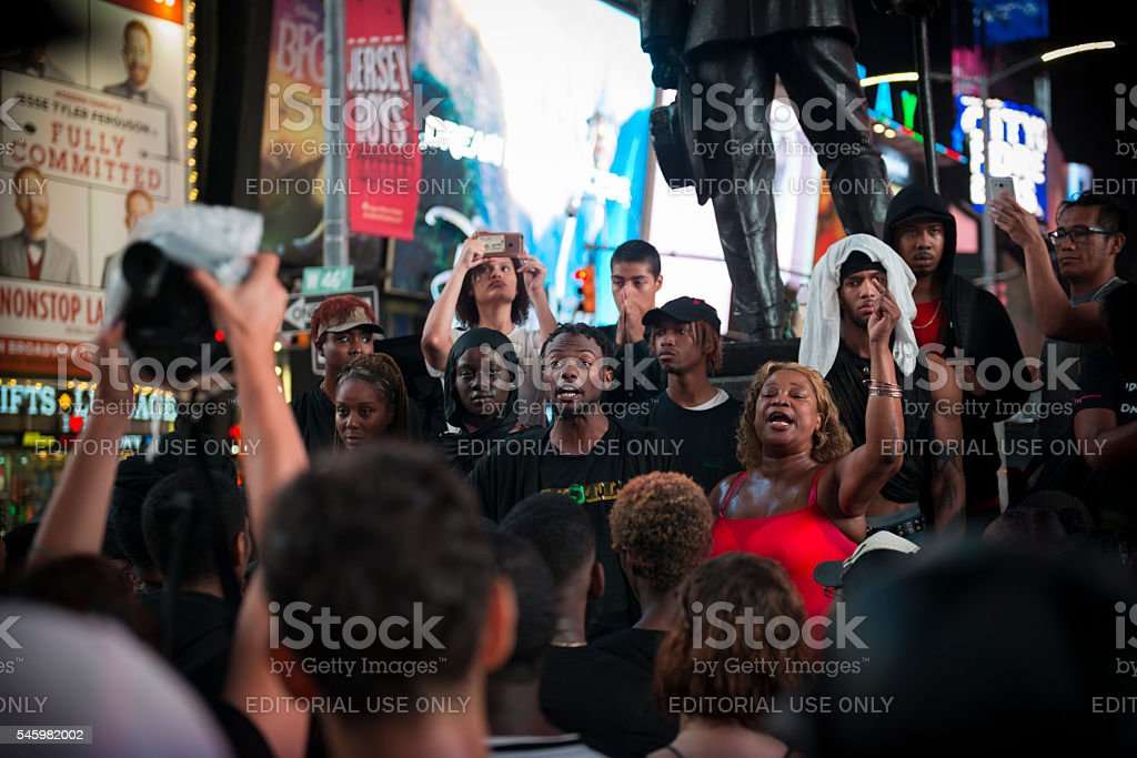 Black Lives Matter protest in Times Square, New York stock photo