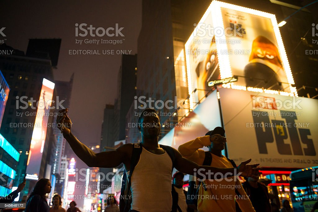 Black Lives Matter protest march through Times Square, New York stock photo