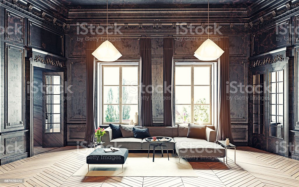 black living room stock photo