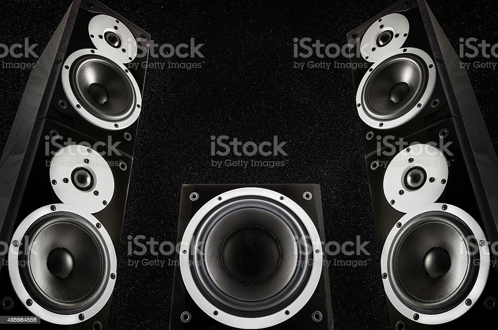 Black loudspeakers stock photo