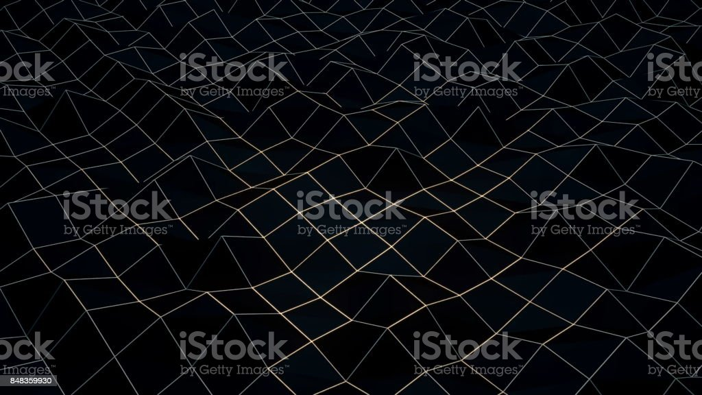 Black Low Poly Abstract Background stock photo