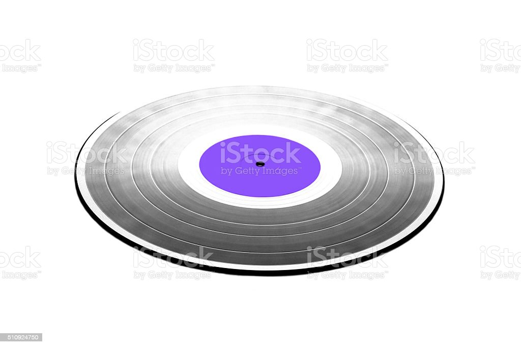 Black LP record with purple label isolated closeup stock photo