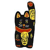 Black lucky cat cartoon illustration on white background