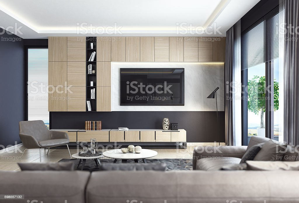Black luxury living room interior with leather sofa and TV stock photo