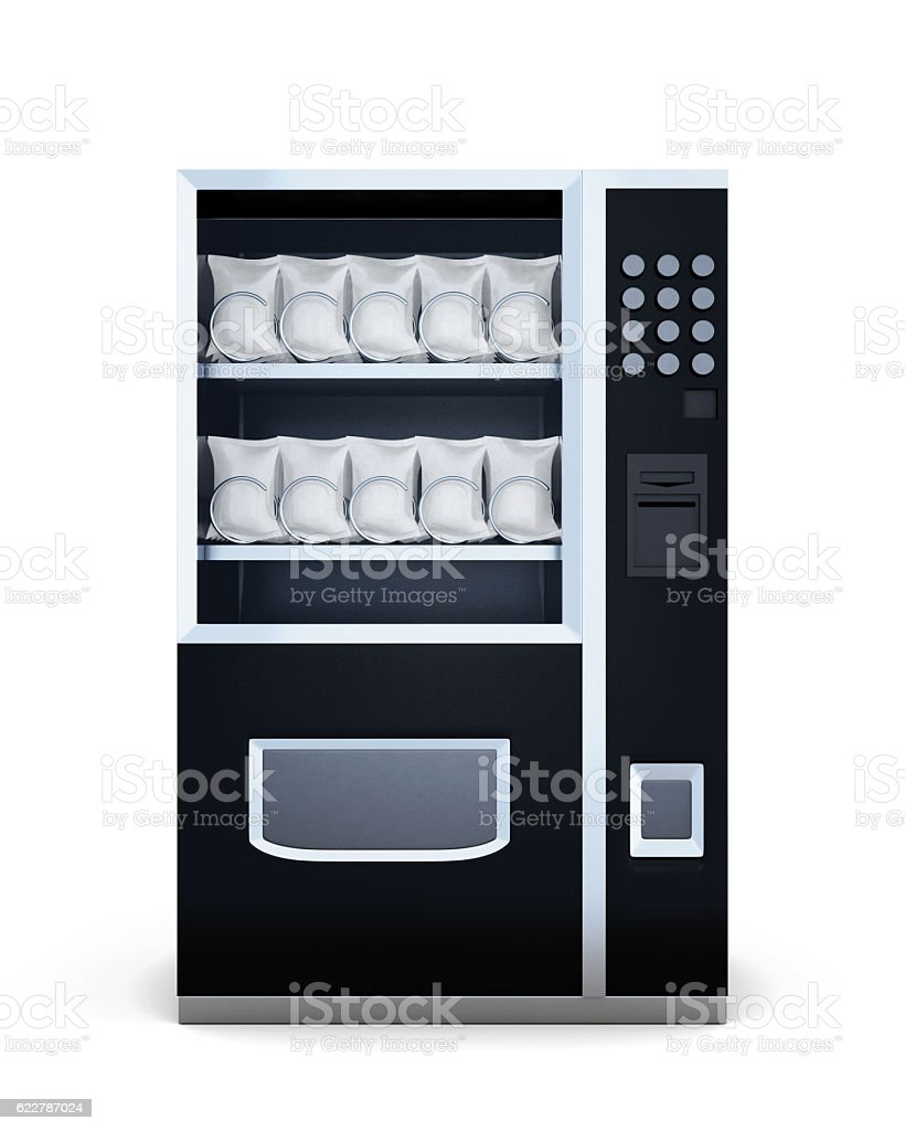 Black machine for sale of snacks isolated on white background. stock photo