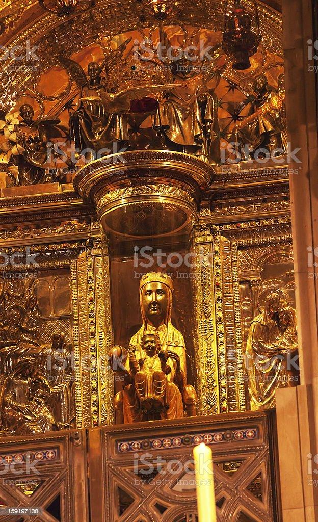 Black Madonna La Moreneta Monastery Montserrat Catalonia Spain stock photo