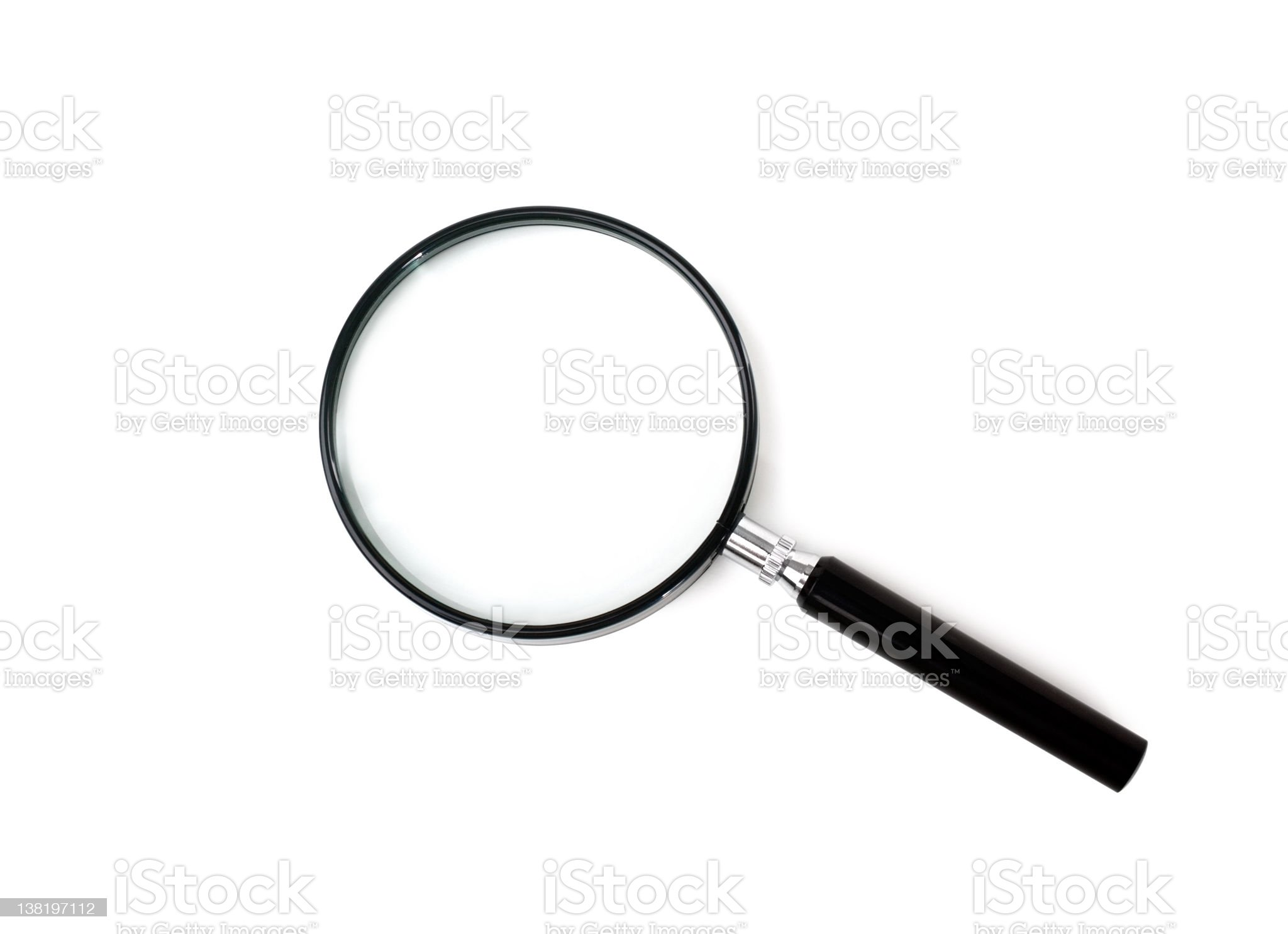 Black magnifying glass on a white background royalty-free stock photo