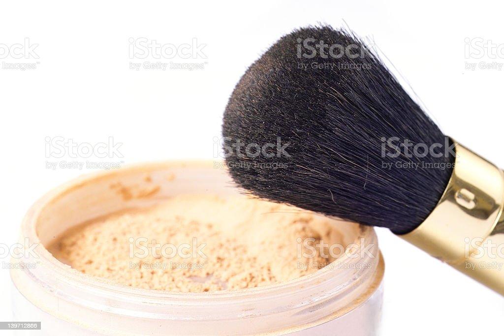 Black make up brush and foundation powder royalty-free stock photo
