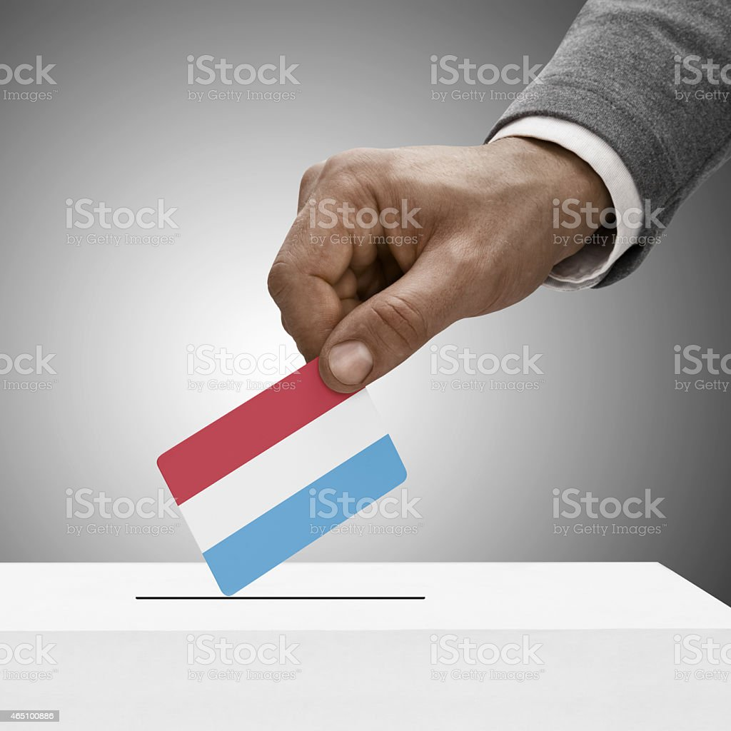 Black male holding flag. Voting concept - Luxembourg stock photo