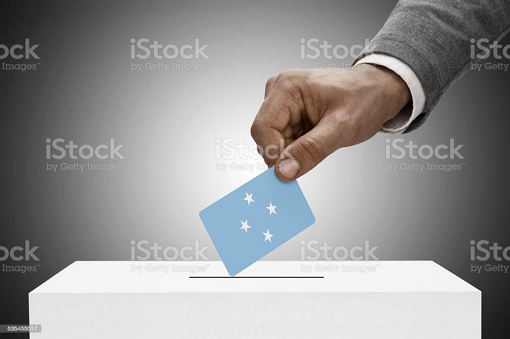 Black male holding flag. Voting concept - Micronesia stock photo