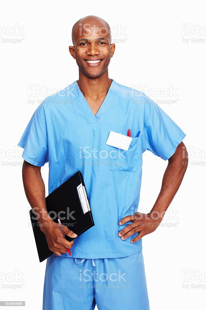Black man in light blue scrubs holding clipboard and pen stock photo
